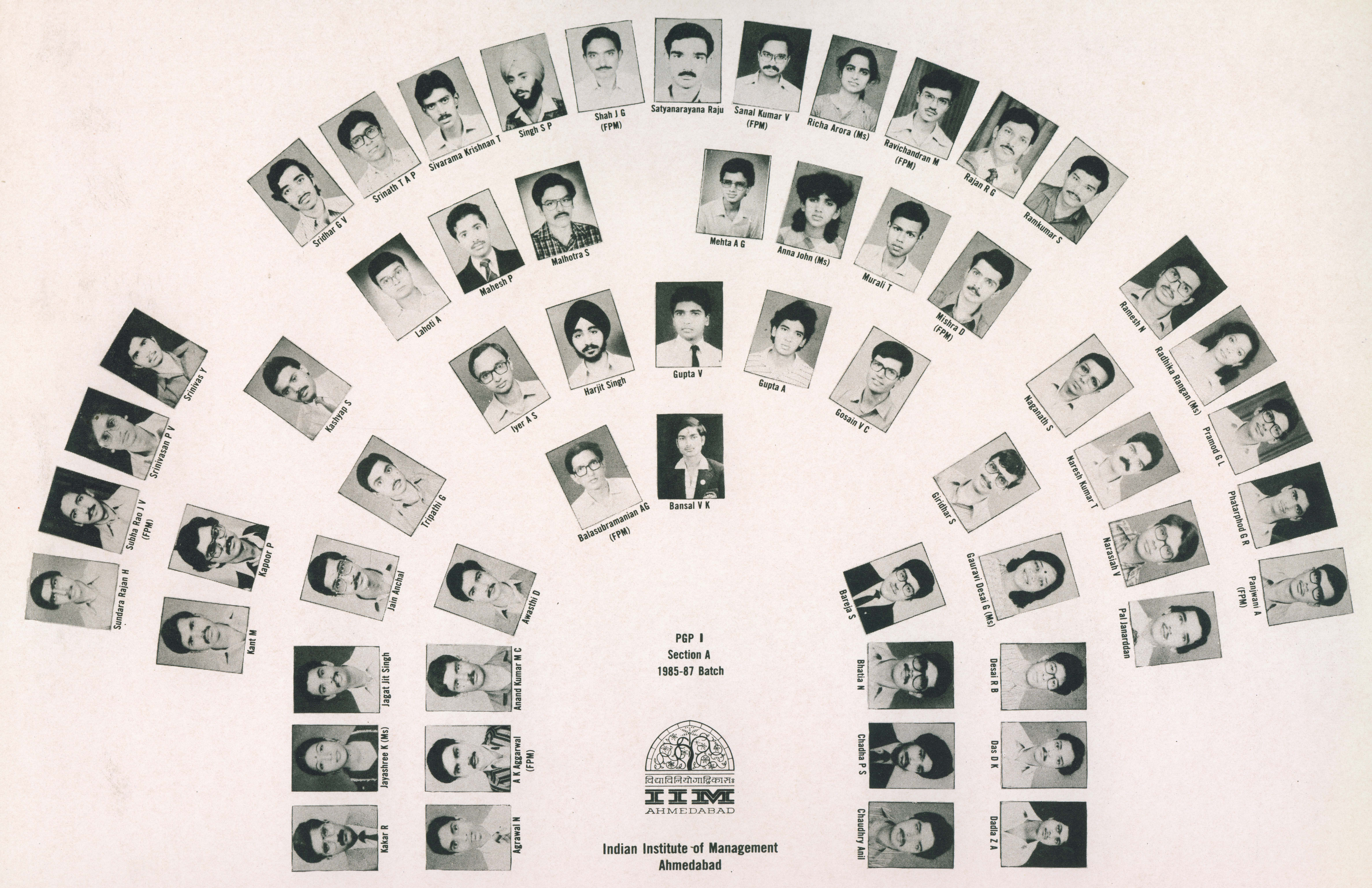The face chart of Section A of the students of the PGP 1985-87 batch which shows Raghuram Rajan (as Rajan R G)